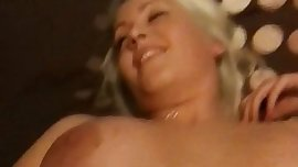 Teen with fake boobs gets fingered