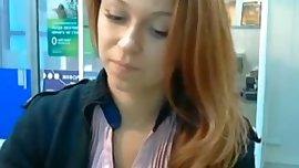 Russian cam girl at work masturbating