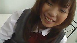 Horny schoolgirl Misa Kurita finger fucks her hairy cunt passionately