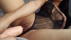 Asian Teen in Panties Masturbating With a Dildo