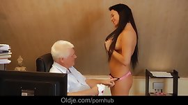 Teen secretary working naked seduces boss for old cock fucking