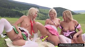 Blonde teens toying twats outdoors