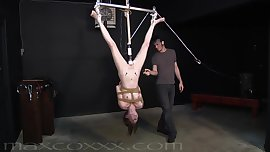 Dangling Submissive Takes a Spanking on