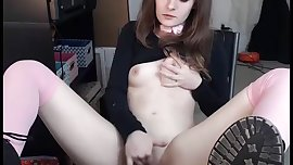 young schoolgirl wearing stockings, shoes, masturbating