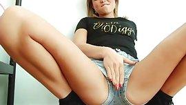 natalia x forrest hot british girl denim shorts