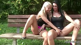 Two German Lesbian Teens Lick Outside and Caught by Police