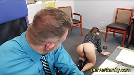 Young and horny StepDaughter seduces her old Daddy at Work