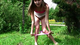 Hot Russian Babe Masturbates in Public Park